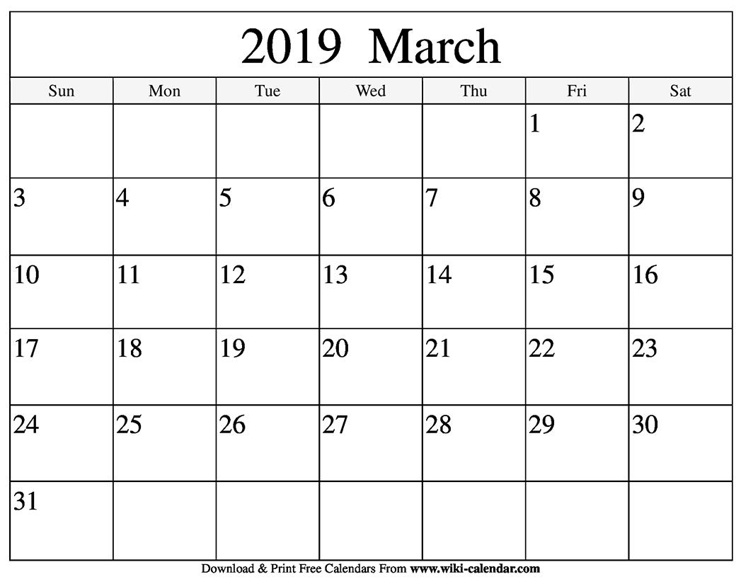 March 2019 Printable Calendar Download - Printable Calendar