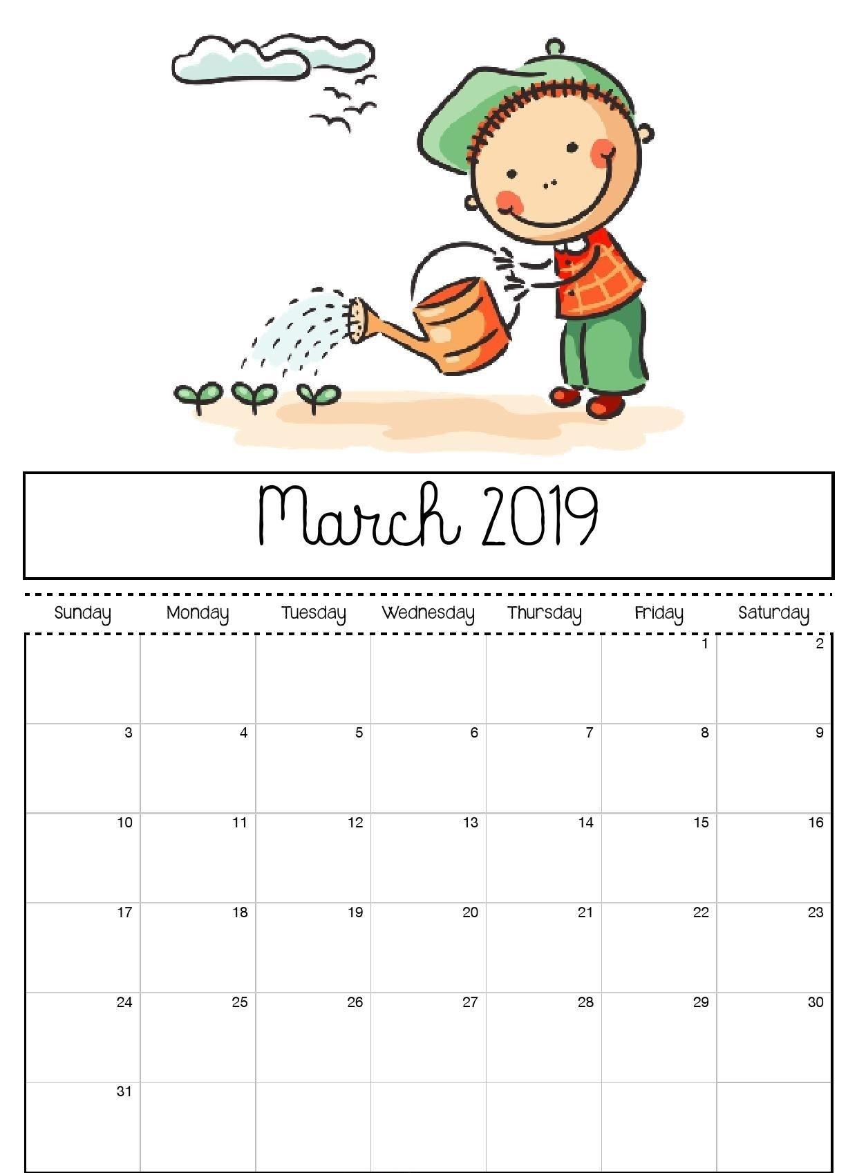 March 2019 Printable Calendar For Kids | Kids Calendar