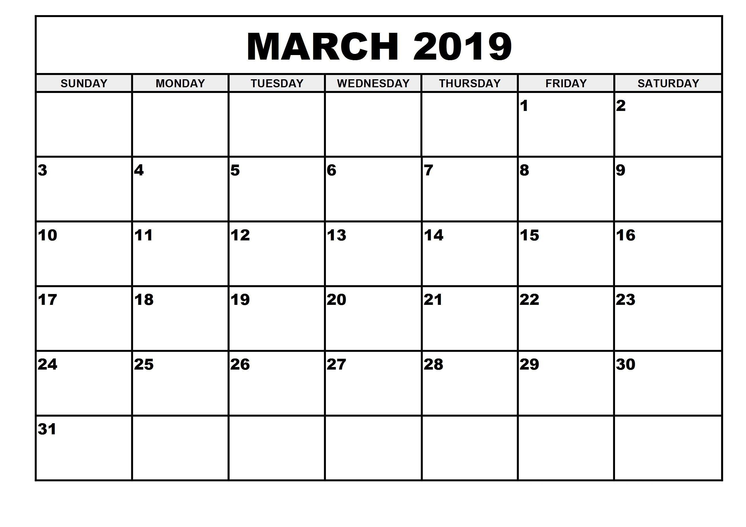 March 2019 Printable Calendar For Word Waterproof | Free