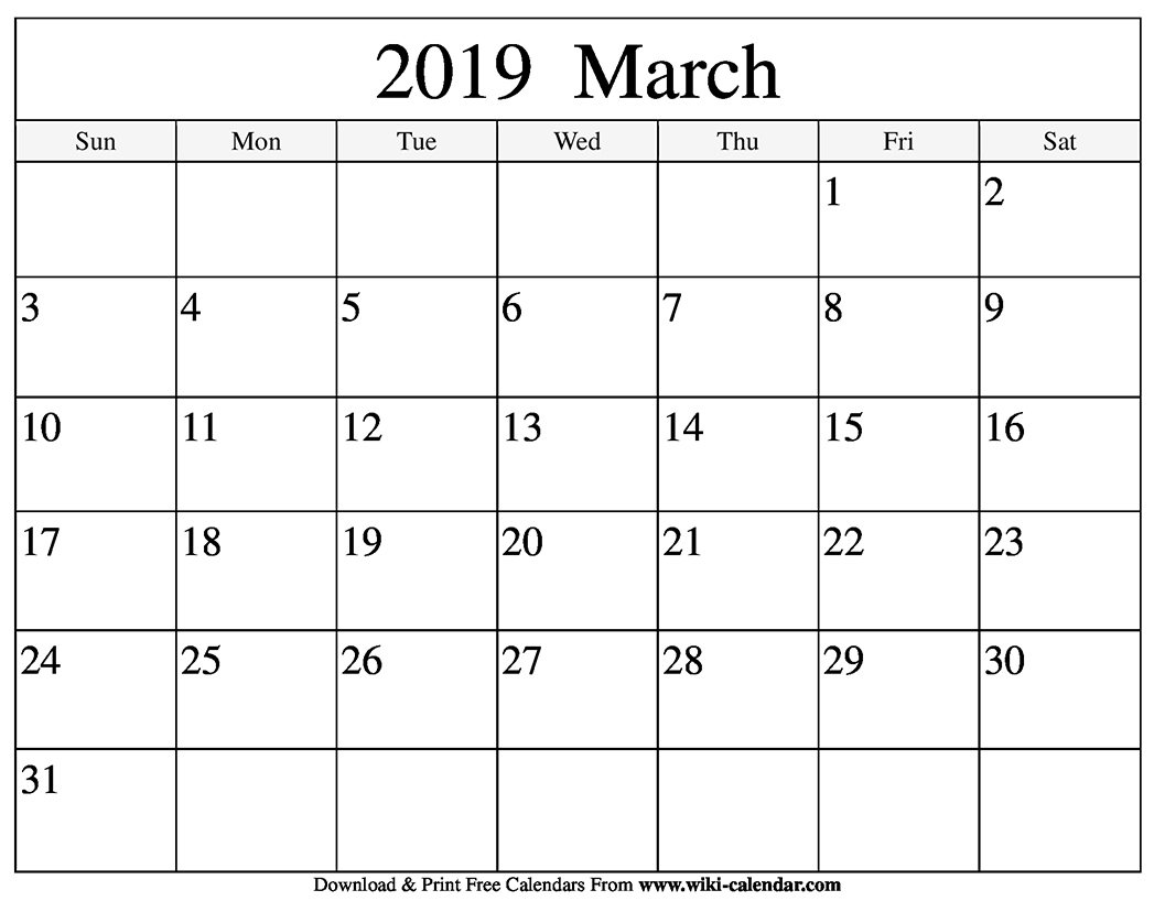 March 2019 Printable Calendar Pdf Free Monthly Template