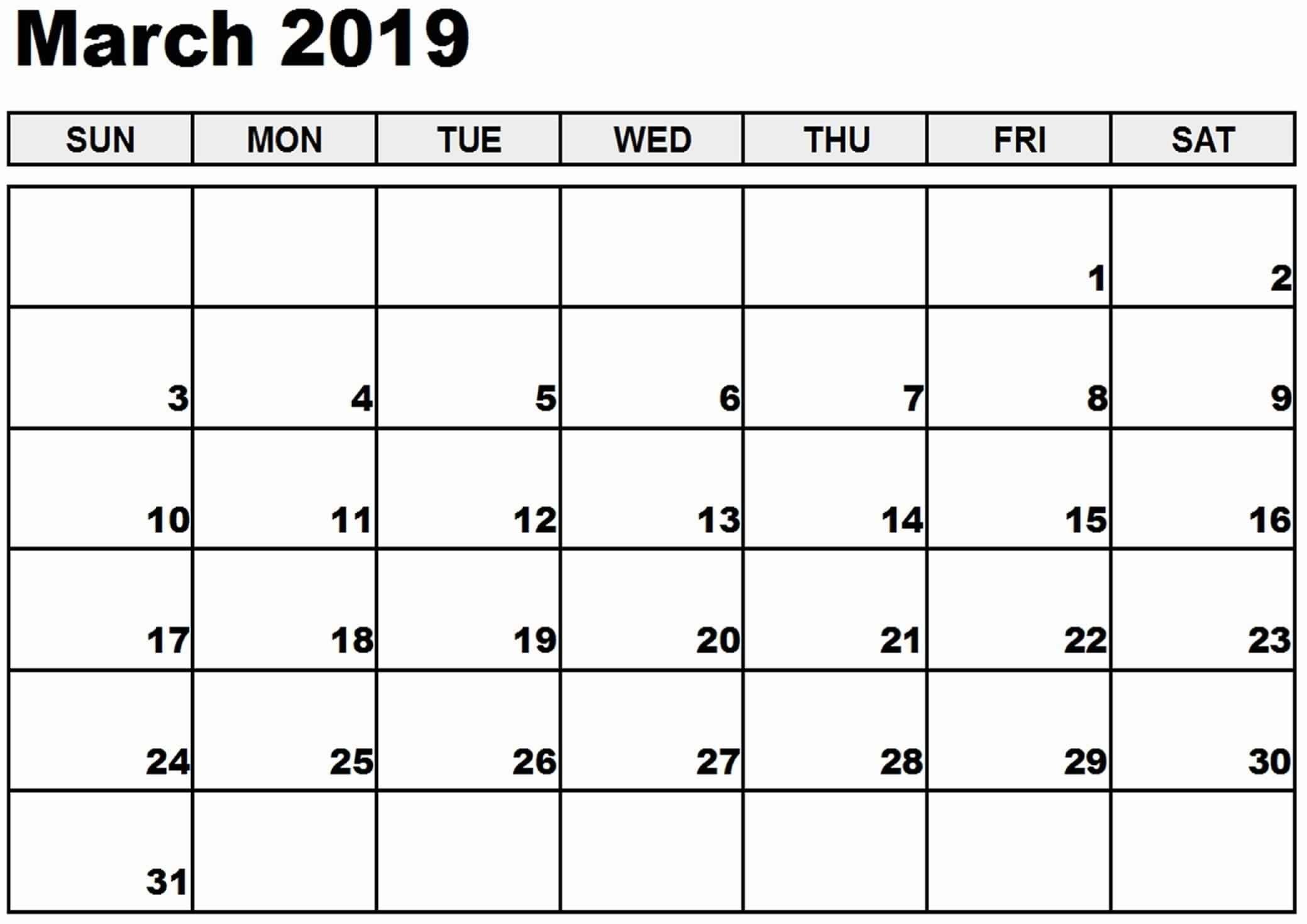 March 2019 Printable Calendar Templates - Free Pdf Word