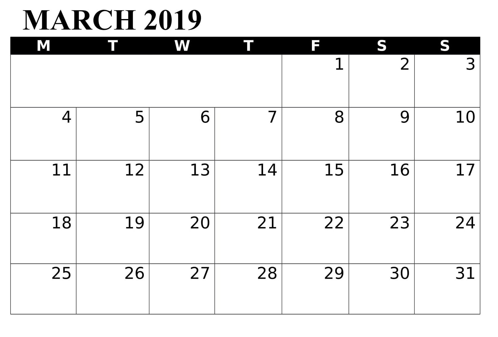 March 2019 Word Printable Calendar Free Download