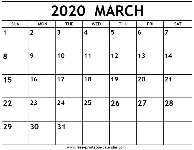 March 2020 Calendar - Free-Printable-Calendar
