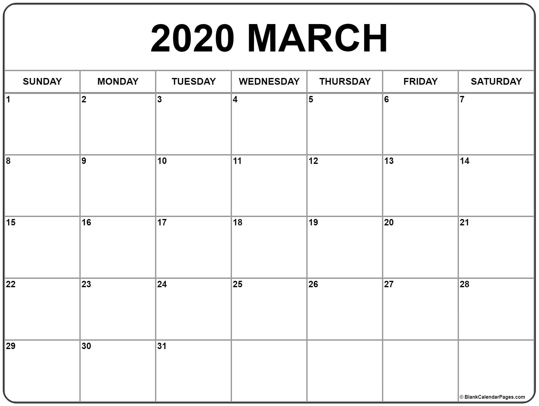 March 2020 Calendar   Free Printable Monthly Calendars