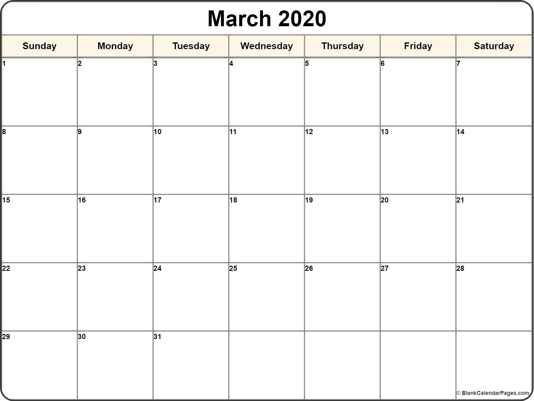 March 2020 Calendar | Free Printable Monthly Calendars