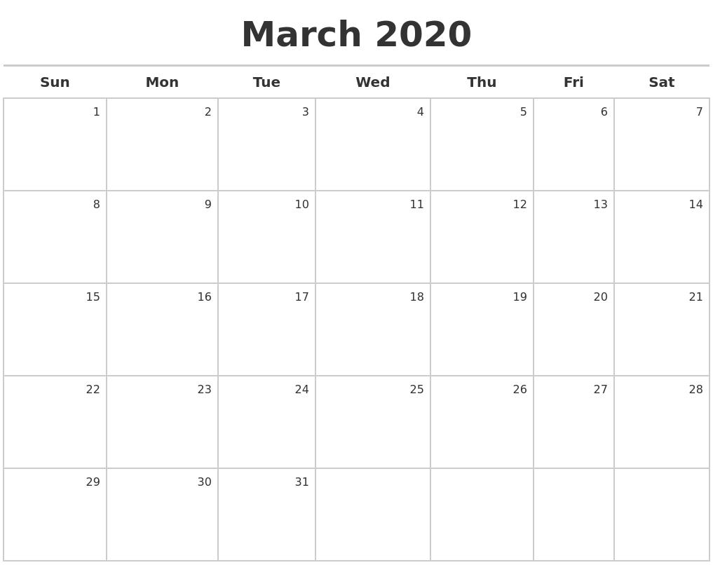 March 2020 Calendar Maker