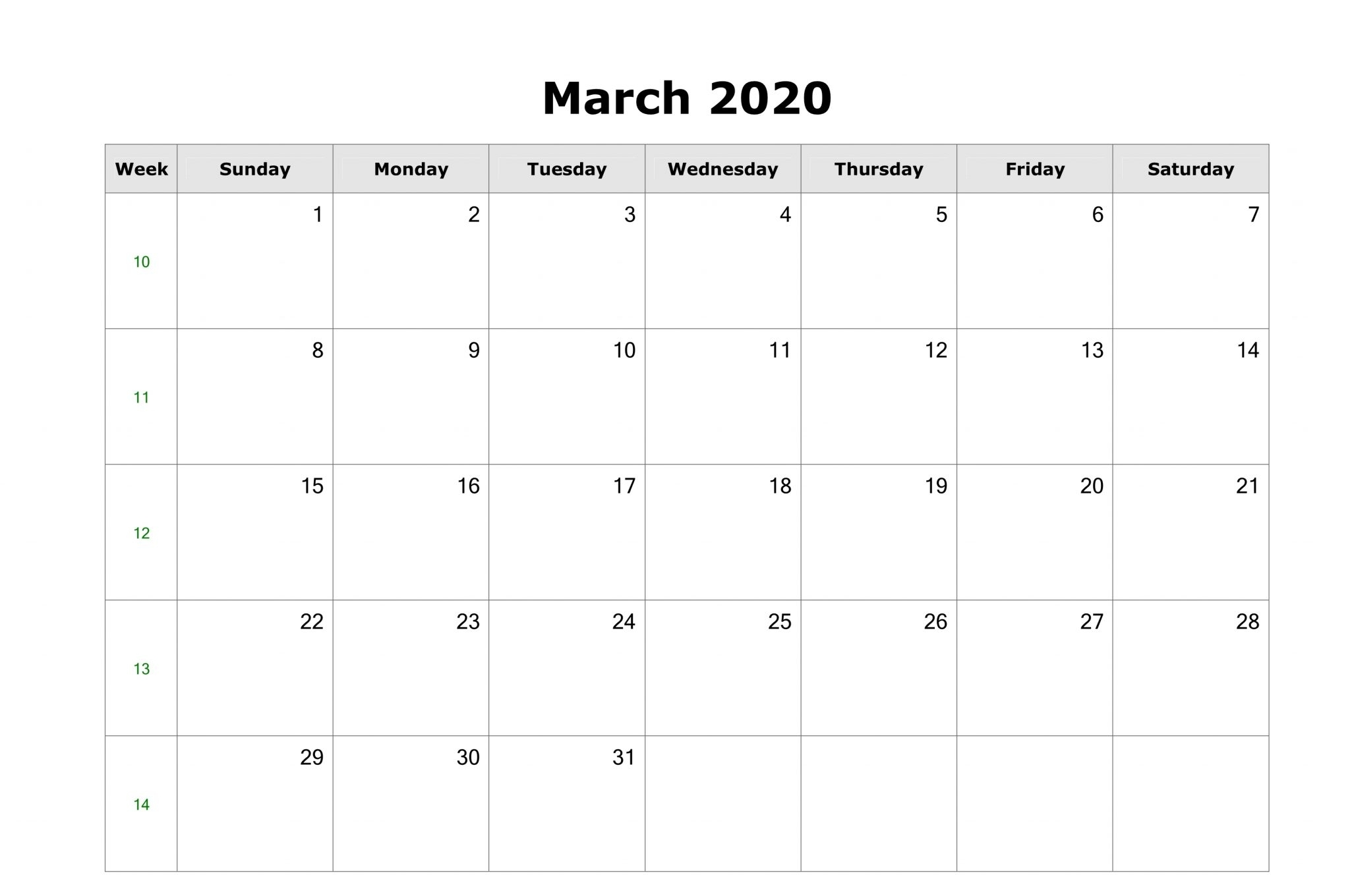 March 2020 Calendar Printable Template In Pdf, Word, Excel