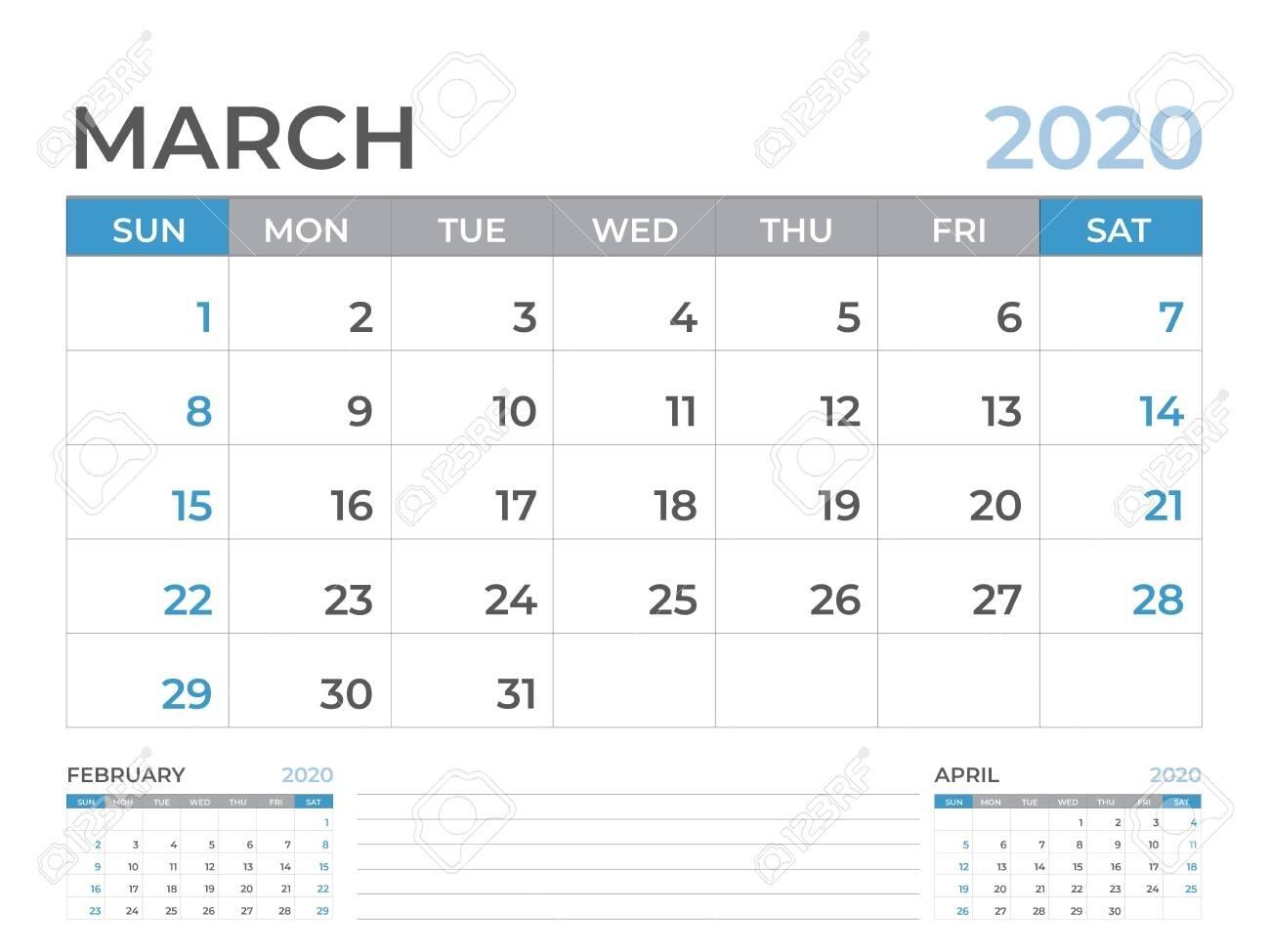 March 2020 Calendar Template, Desk Calendar Layout Size 8 X..