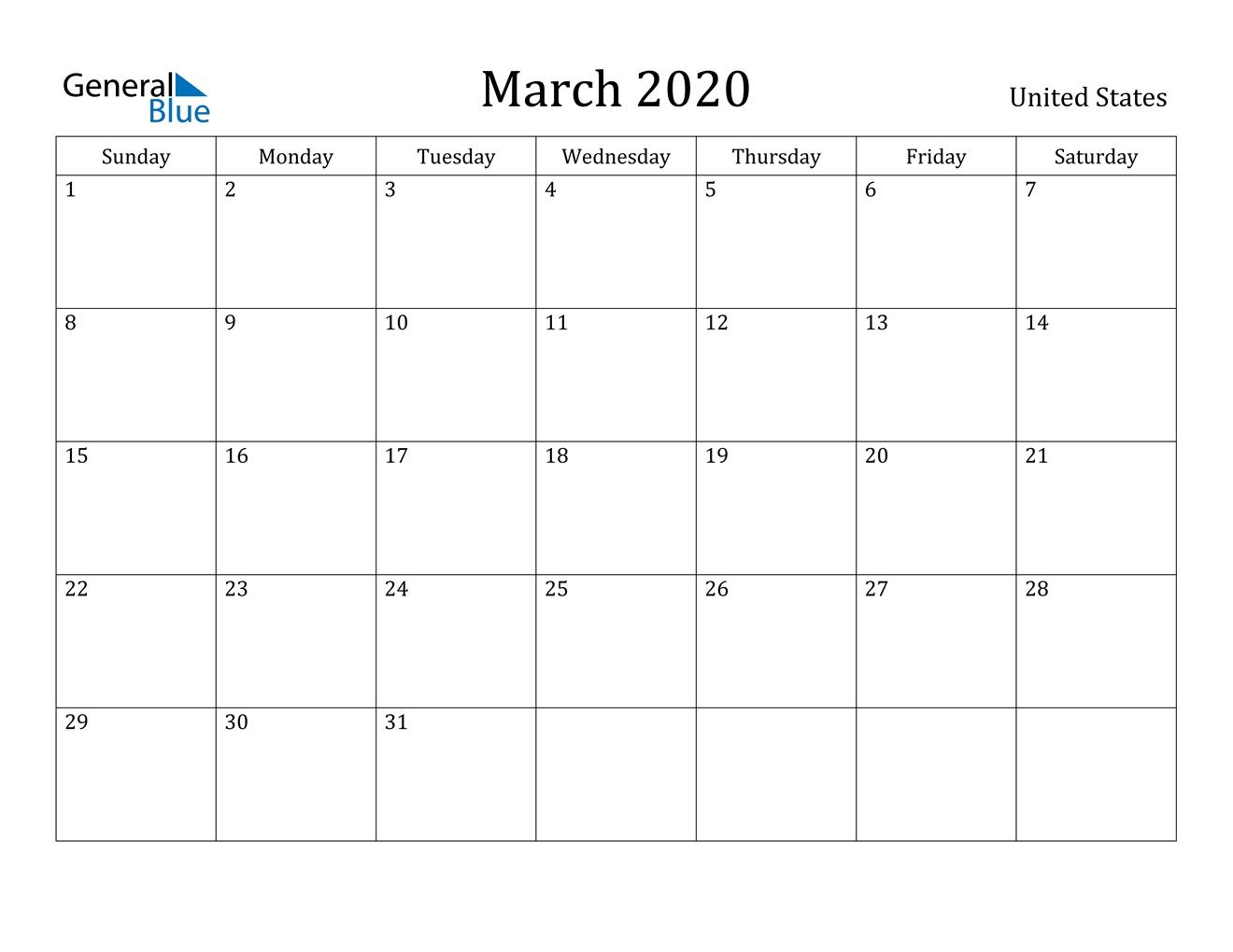 March 2020 Calendar - United States