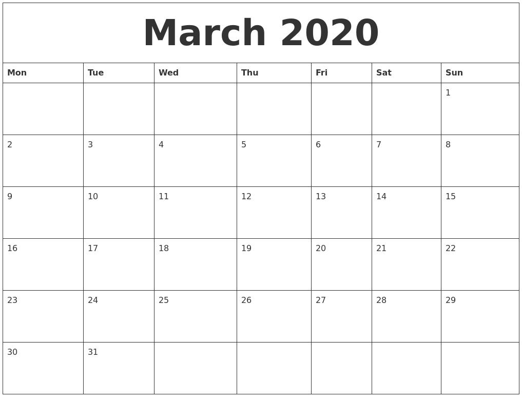 March 2020 Editable Calendar Template