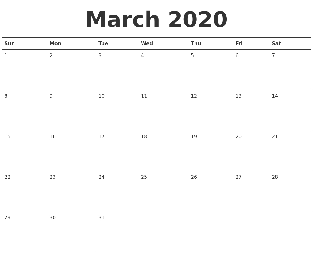March 2020 Free Printable Calendar Templates