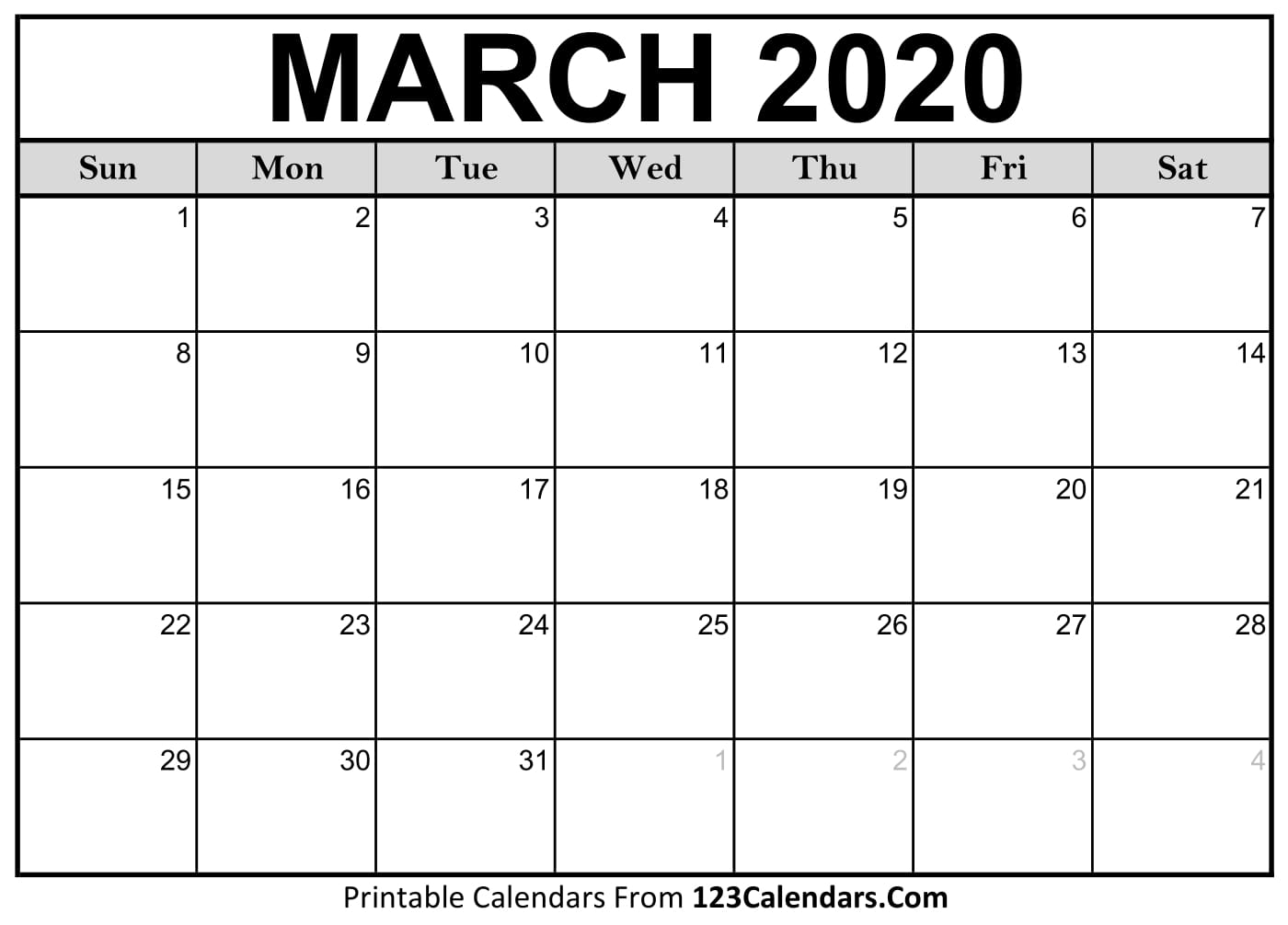 March 2020 Printable Calendar   123Calendars