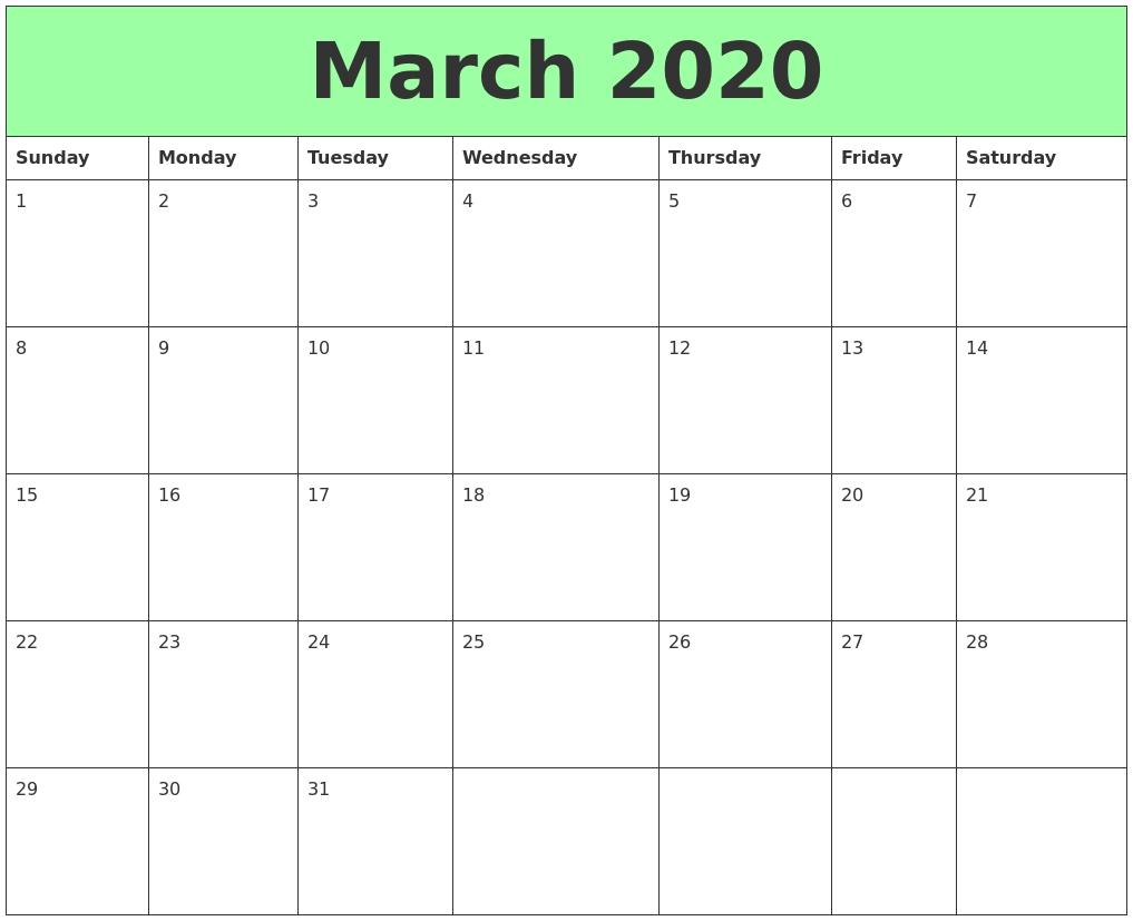March 2020 Printable Calendars