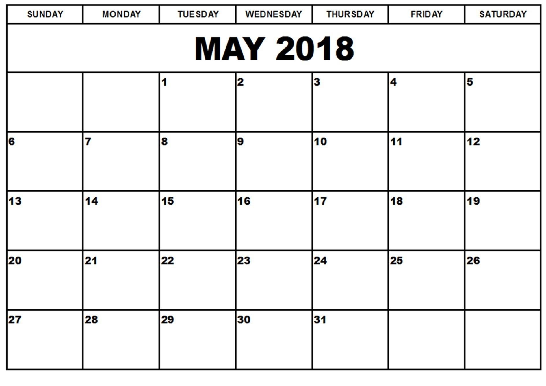 May 2018 Calendar Template For Sunday Through Saturday