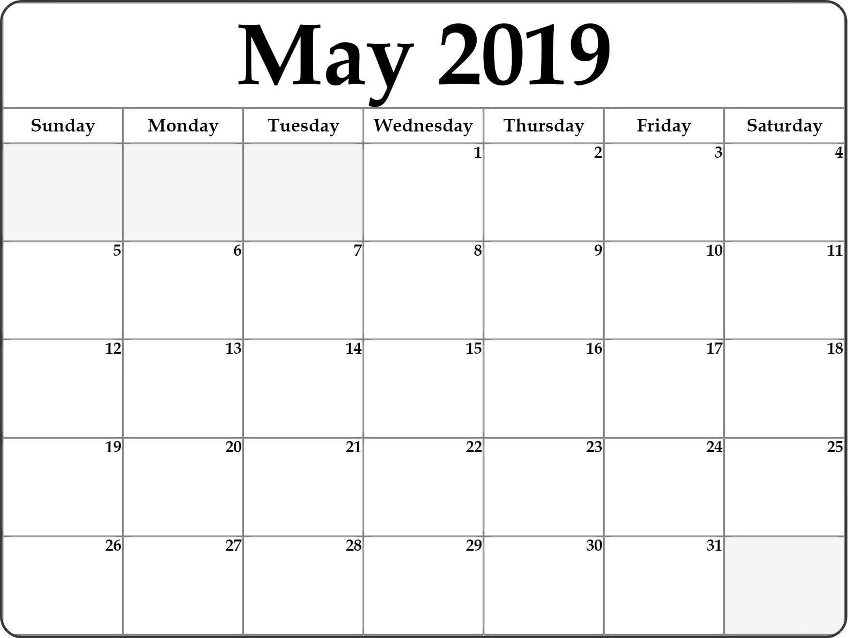 May 2019 Blank Calendar #stylish #design | Printable Blank