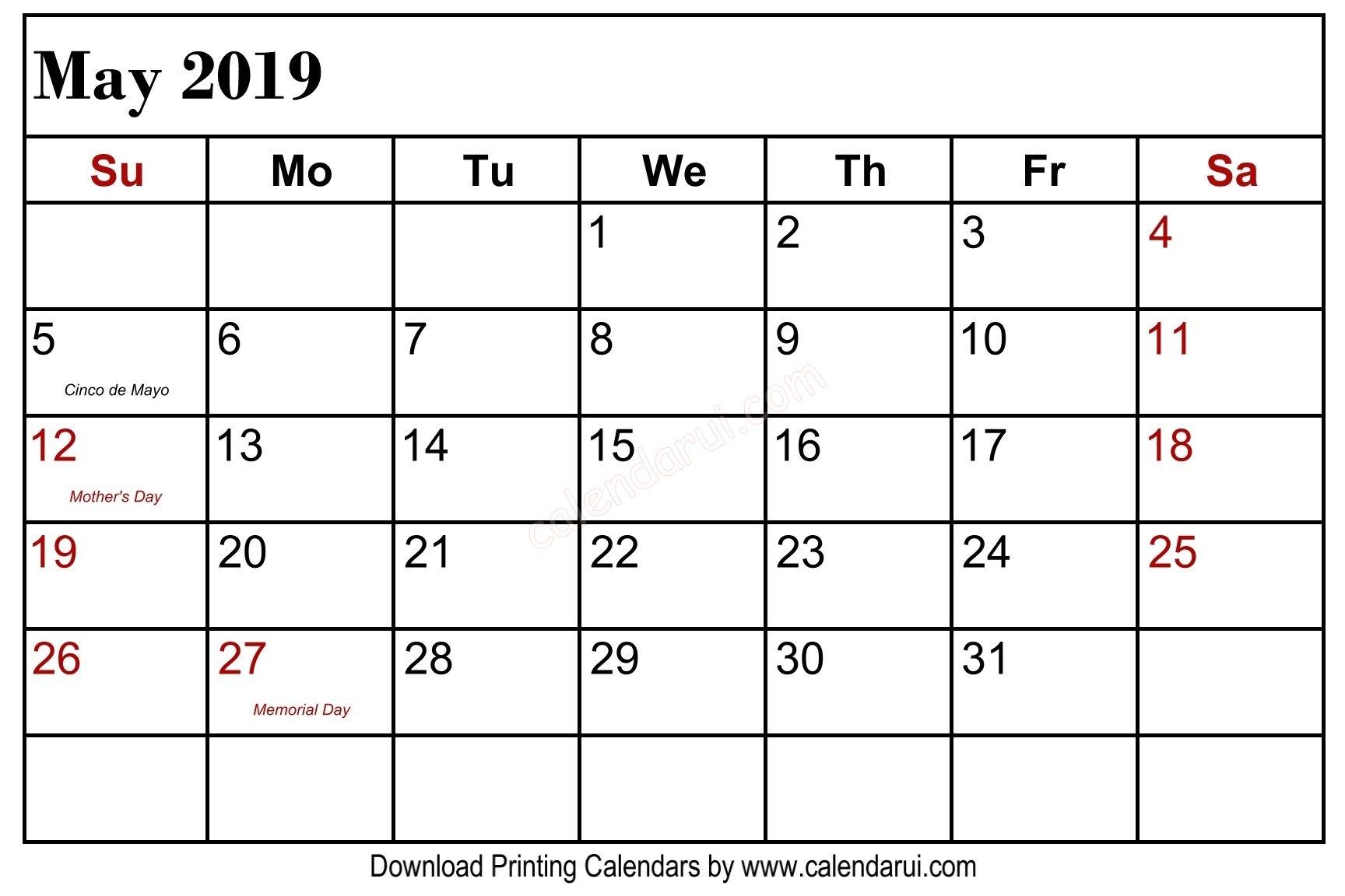 May 2019 Calendar Holidays Printable Usa Public Holidays 2