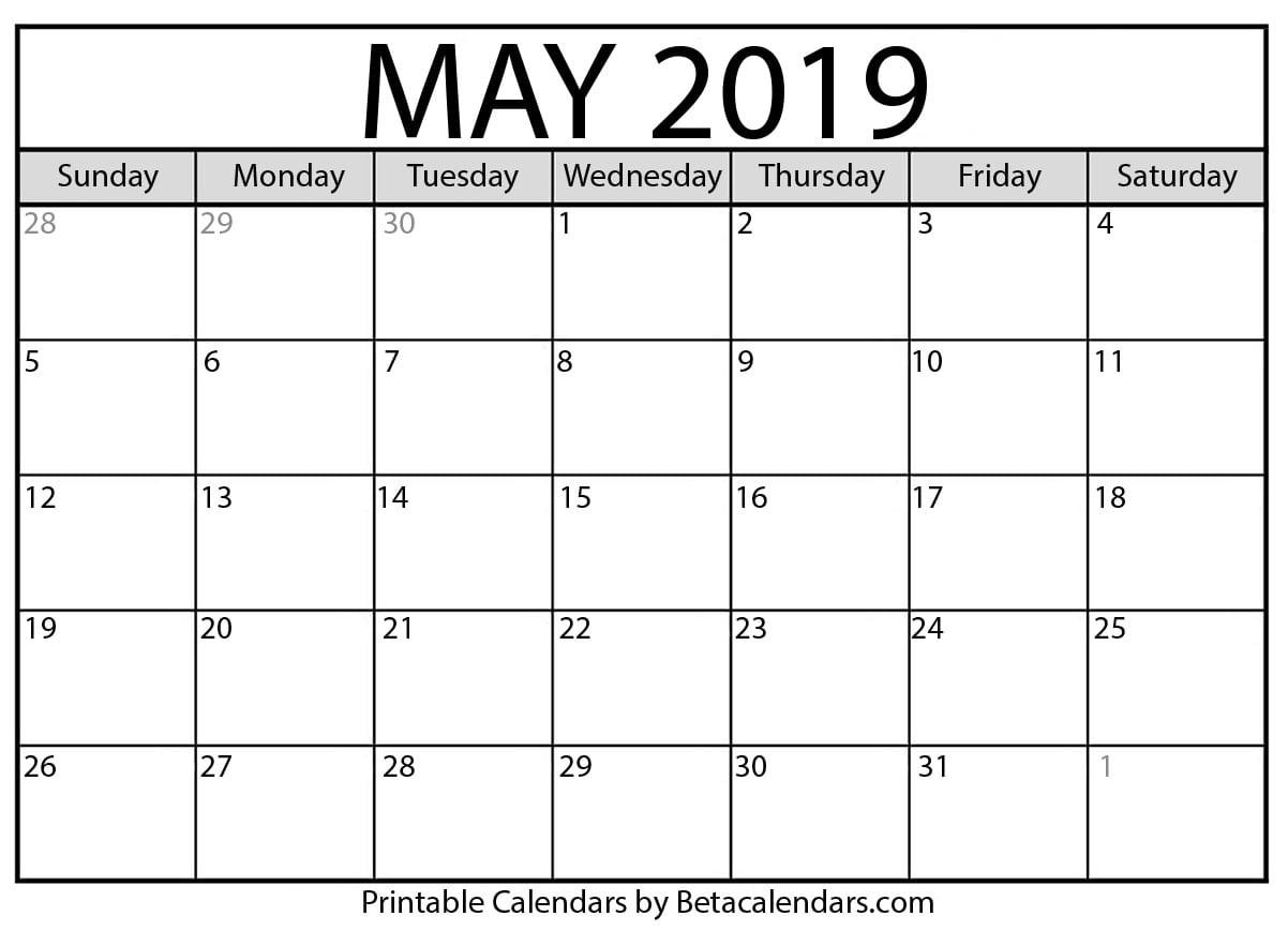 May 2019 Calendar - Mateo Pedersen - Medium