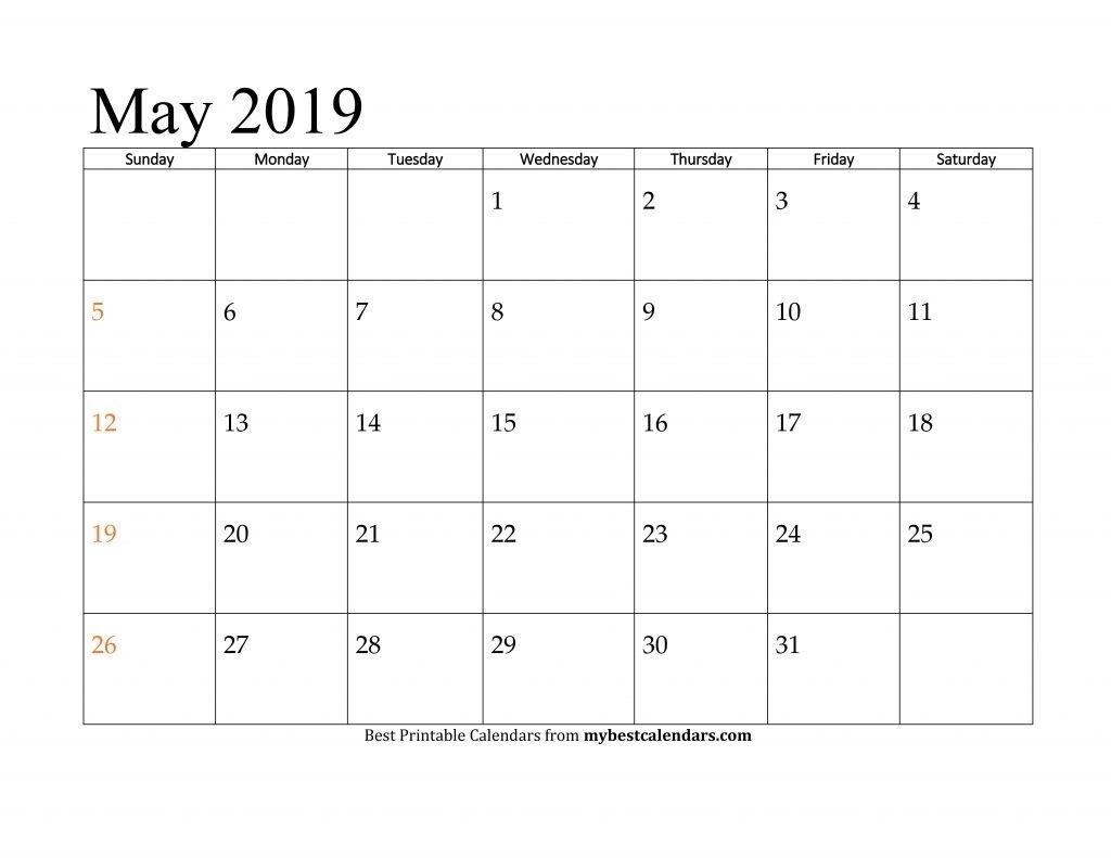 May 2019 Printable Calendar - Blank Templates Holidays