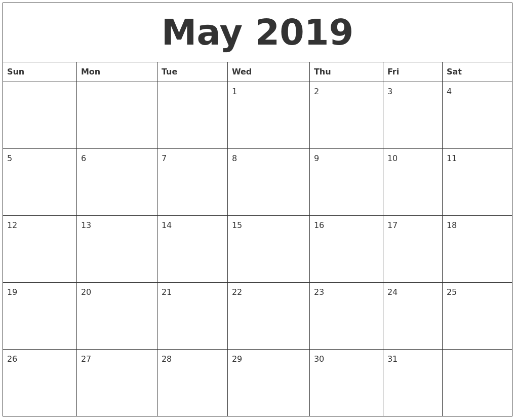 May 2019 Printable Calendar Pages