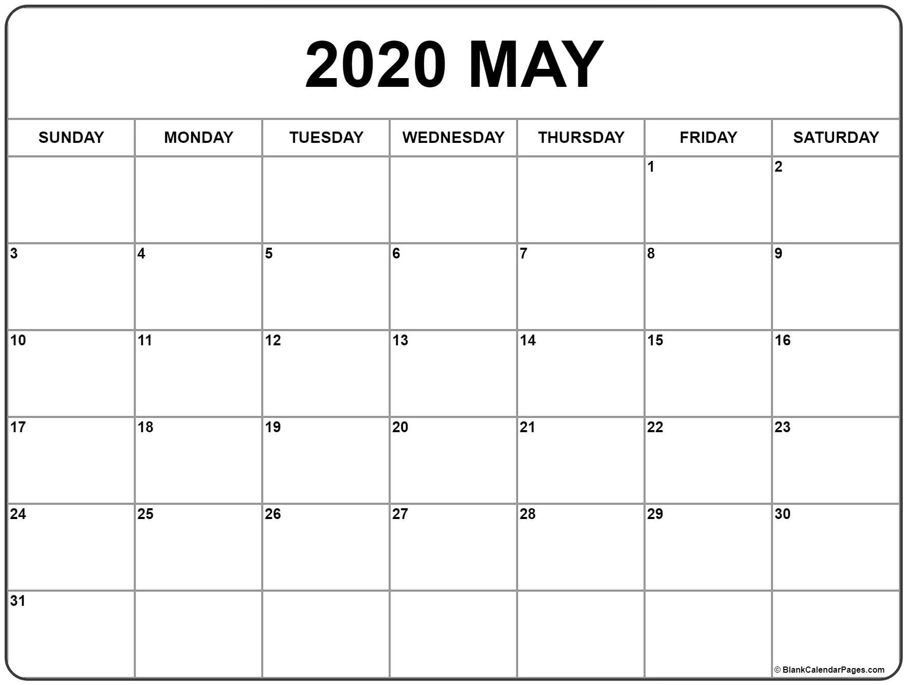 May 2020 Calendar | Free Printable Monthly Calendars