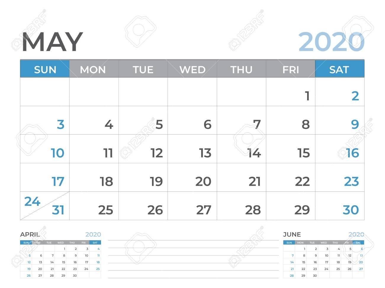 May 2020 Calendar Template, Desk Calendar Layout Size 8 X 6..