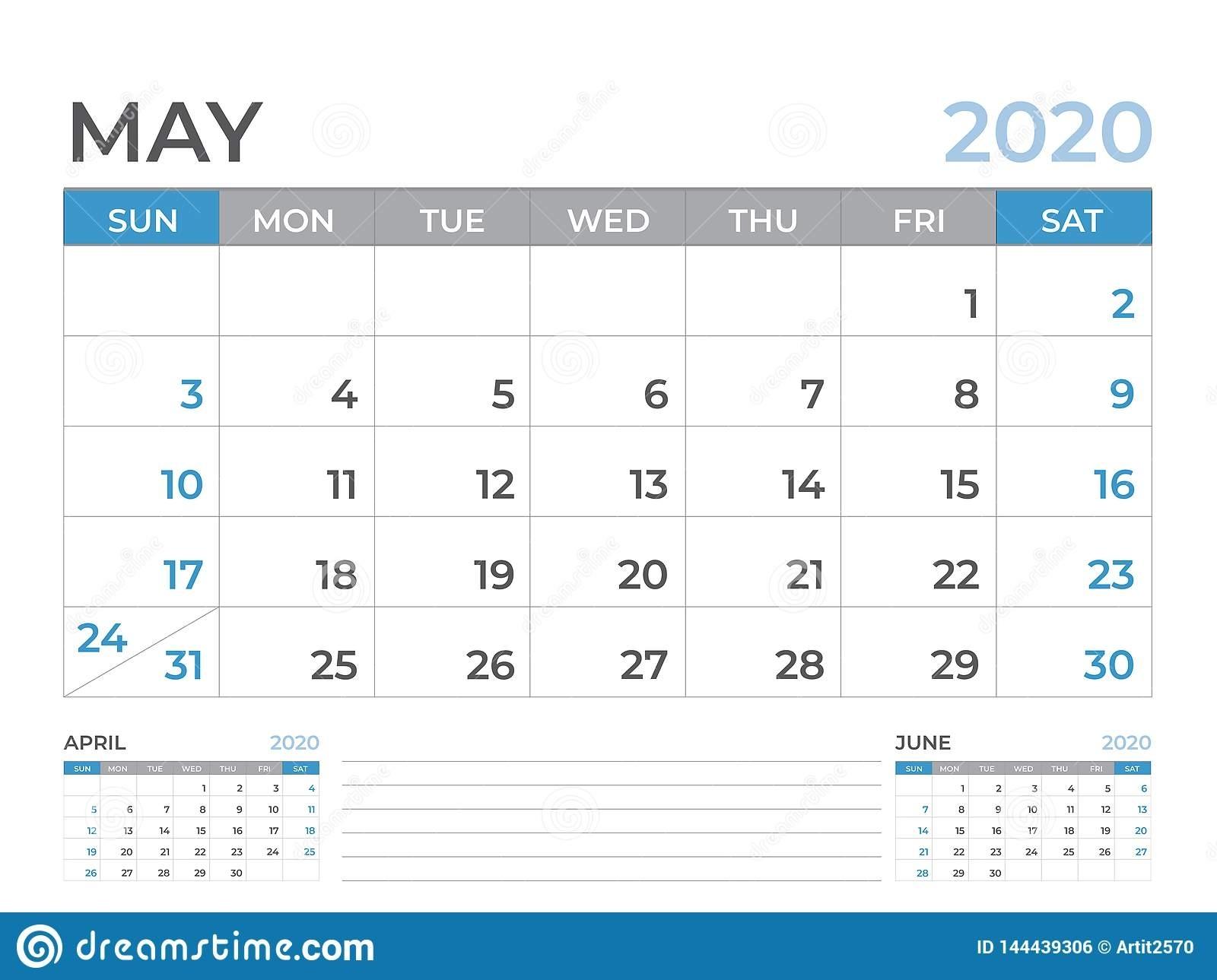 May 2020 Calendar Template, Desk Calendar Layout Size 8 X 6