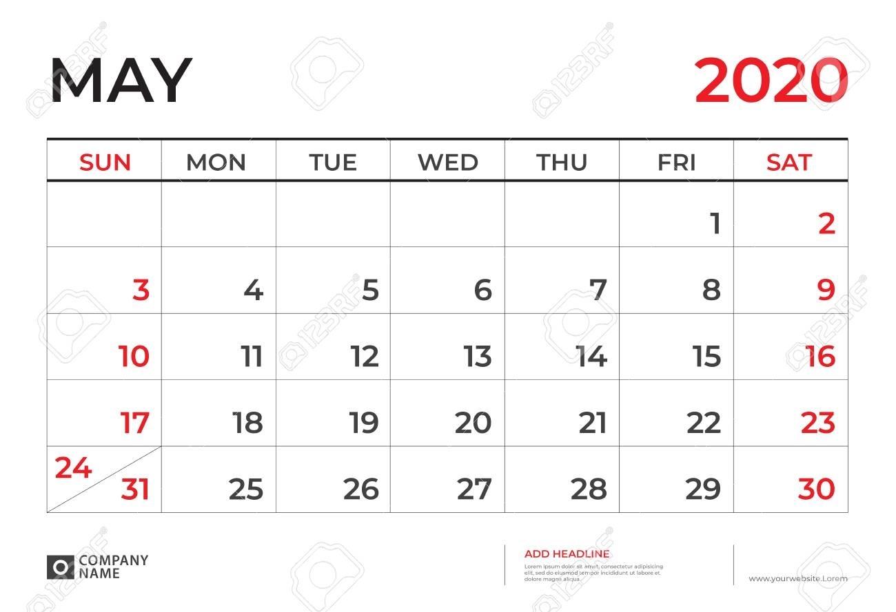 May 2020 Calendar Template, Desk Calendar Layout Size 9.5 X..