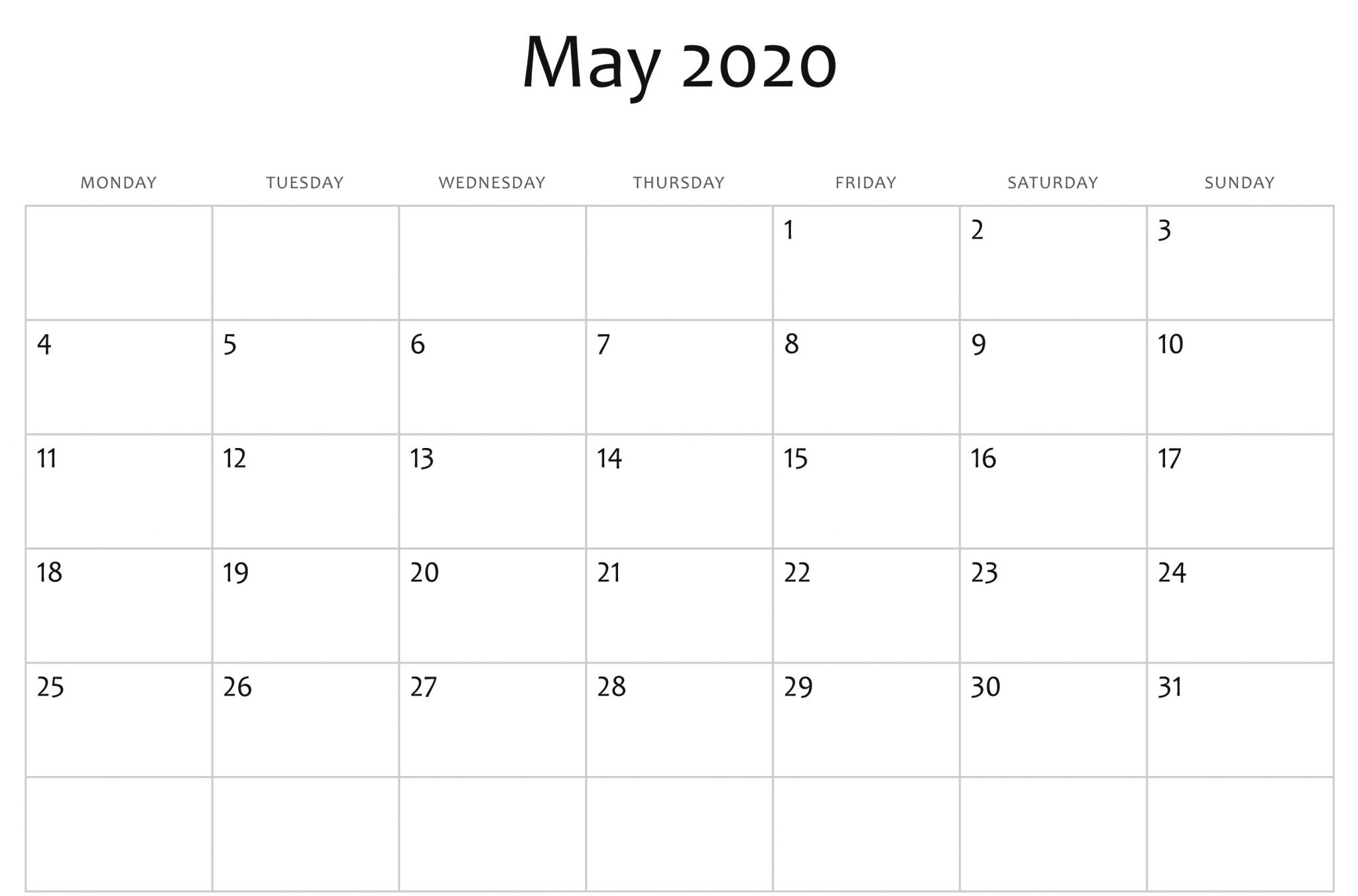 May 2020 Calendar Template Word, Pdf, Excel Format
