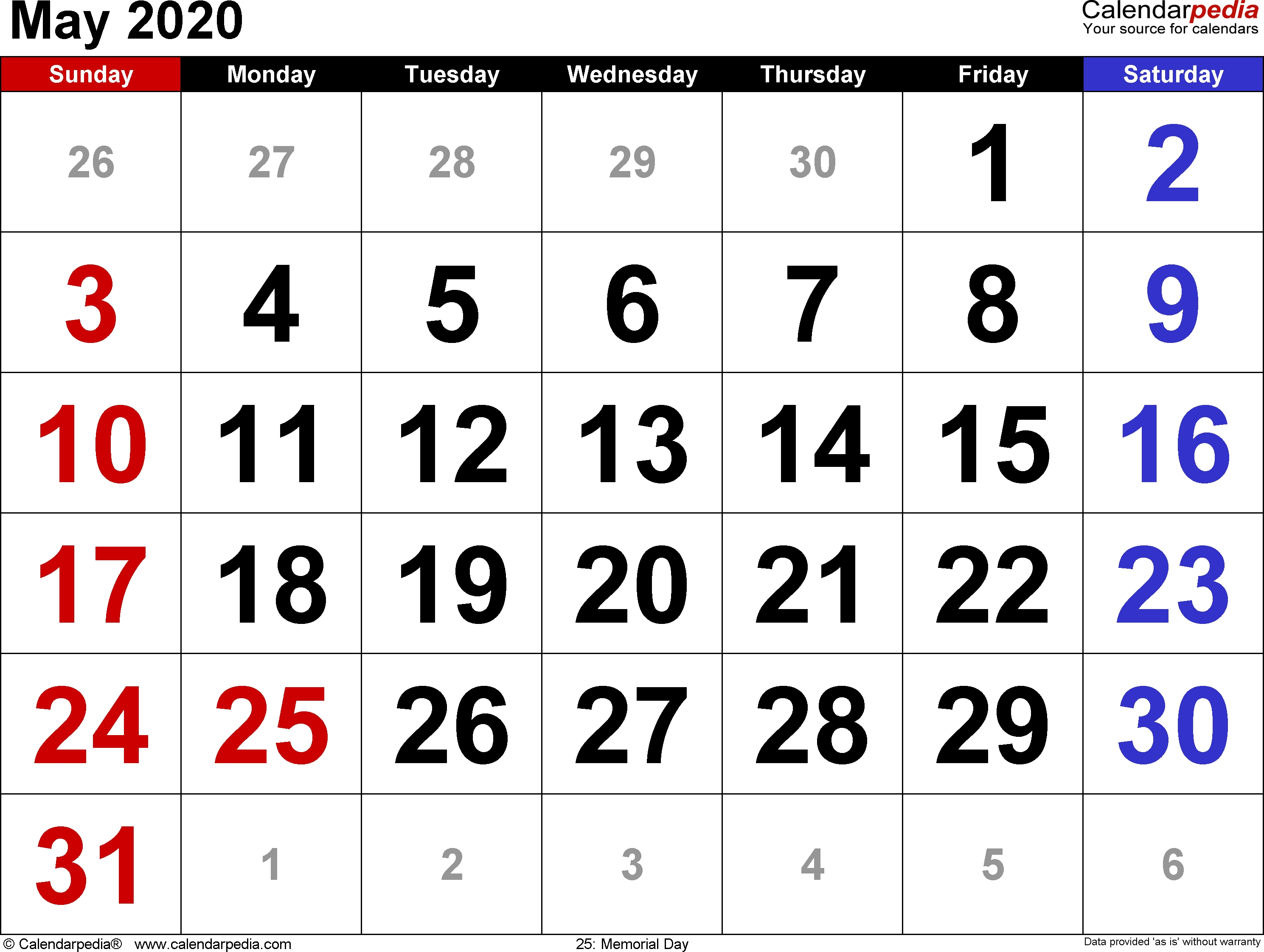 May 2020 Calendars For Word, Excel & Pdf