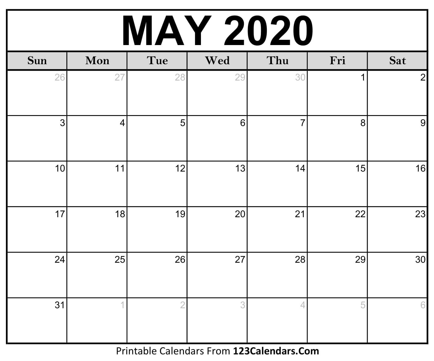 May 2020 Printable Calendar   123Calendars