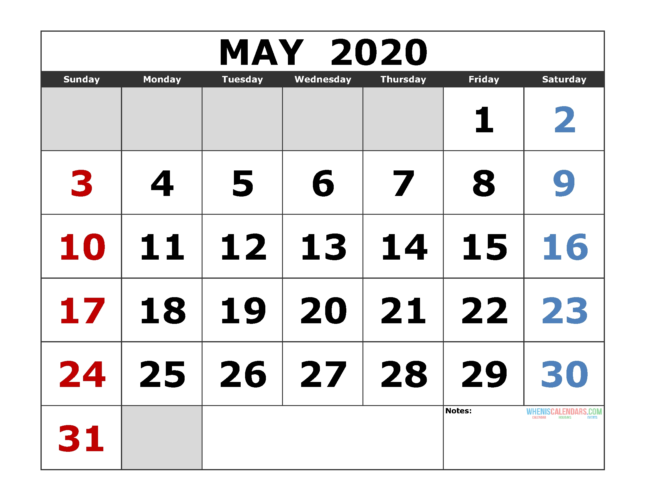 May 2020 Printable Calendar Template Excel, Pdf, Image [Us