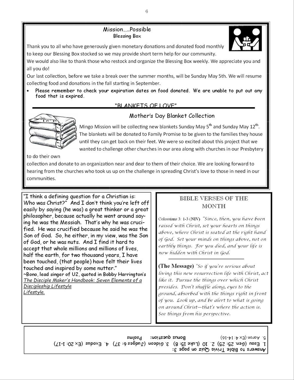 May News Letter — Mingo Creek Presbyterian Church Eco