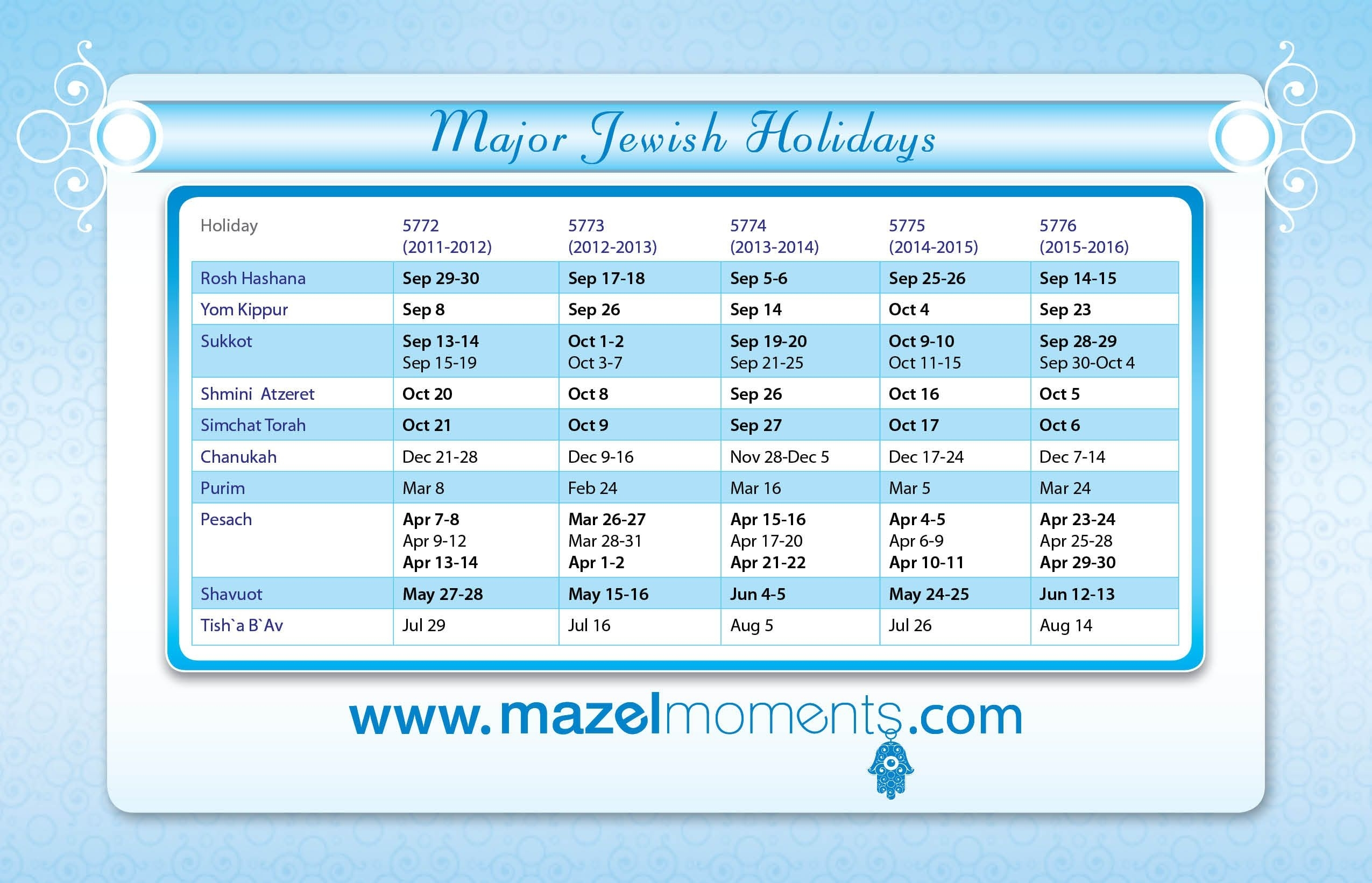 Mazelmoments Jewish Calendar - Wedding, Bat & Bar Mitzvah
