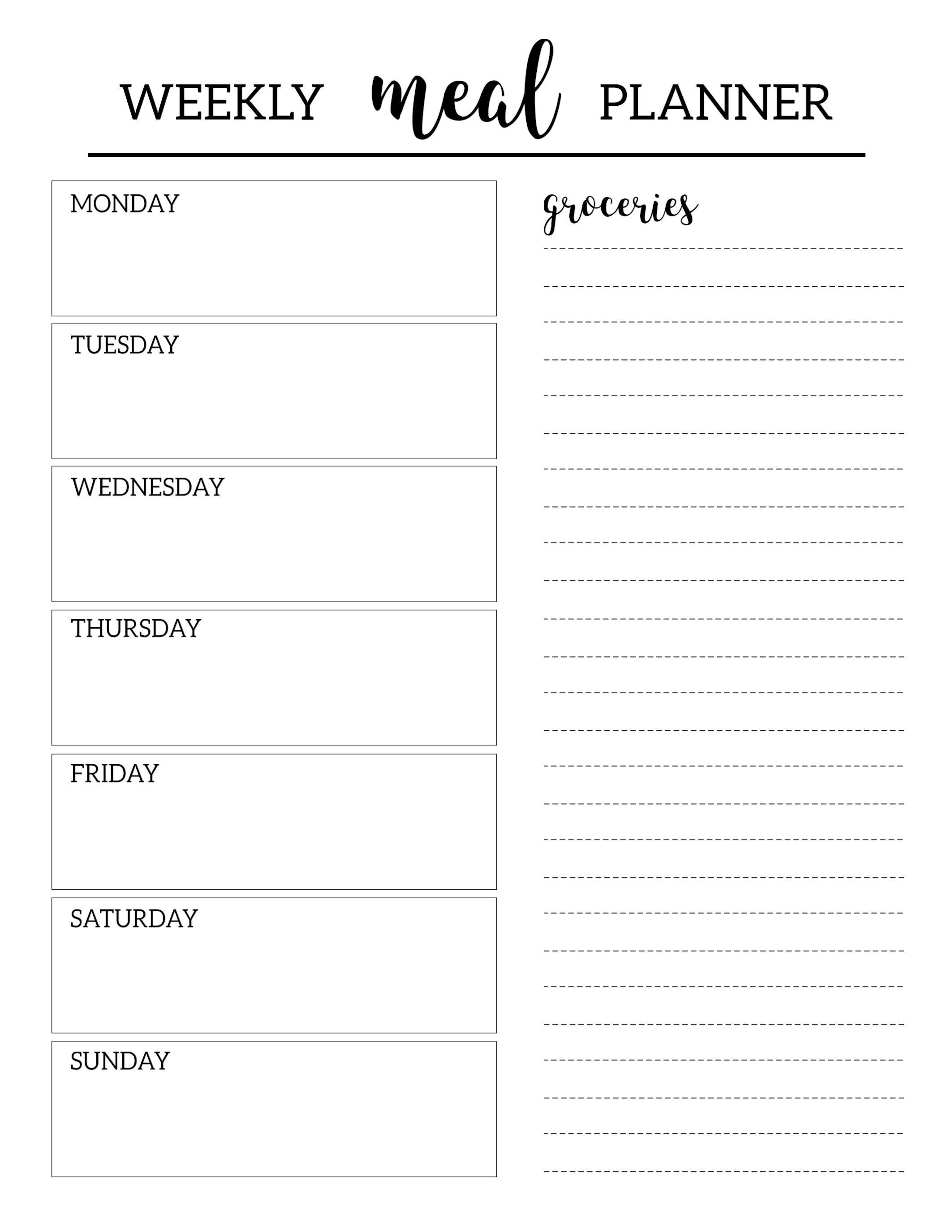 Meal Planner Template With Large Boxes | Meal Planner