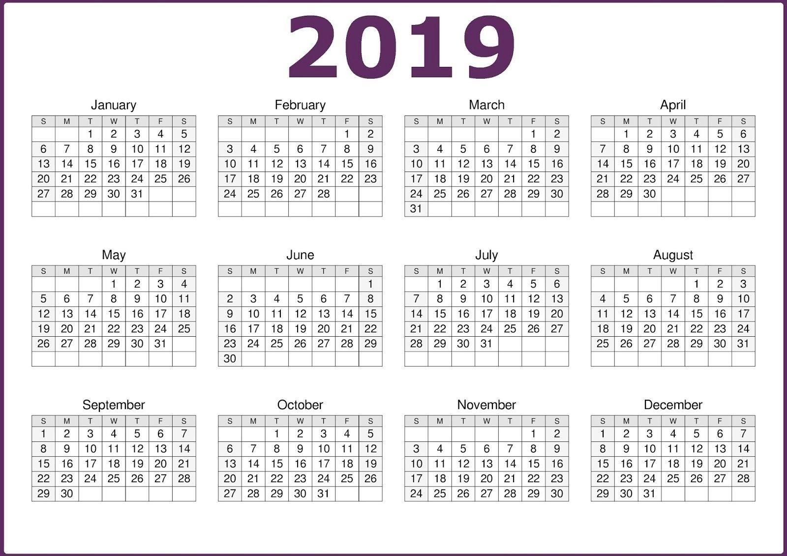 Microsoft Calendar Template 2019 | Free Calendar Template