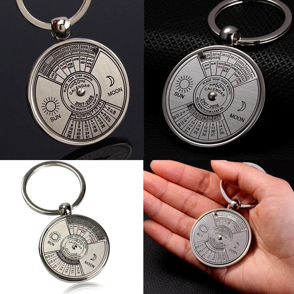 Mini Calendar Keychain Ring Unique Metal Keyring 50 Years Perpetual