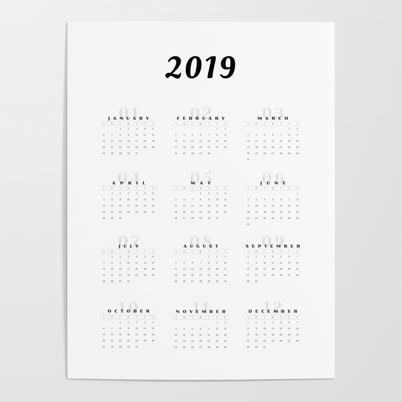 Minimal 2019 Calendar Art Print Posterchristinaangela