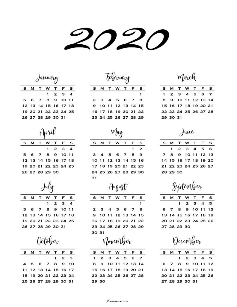 Minimal One Page Calendar For 2019 & 2020 {Free Printables}