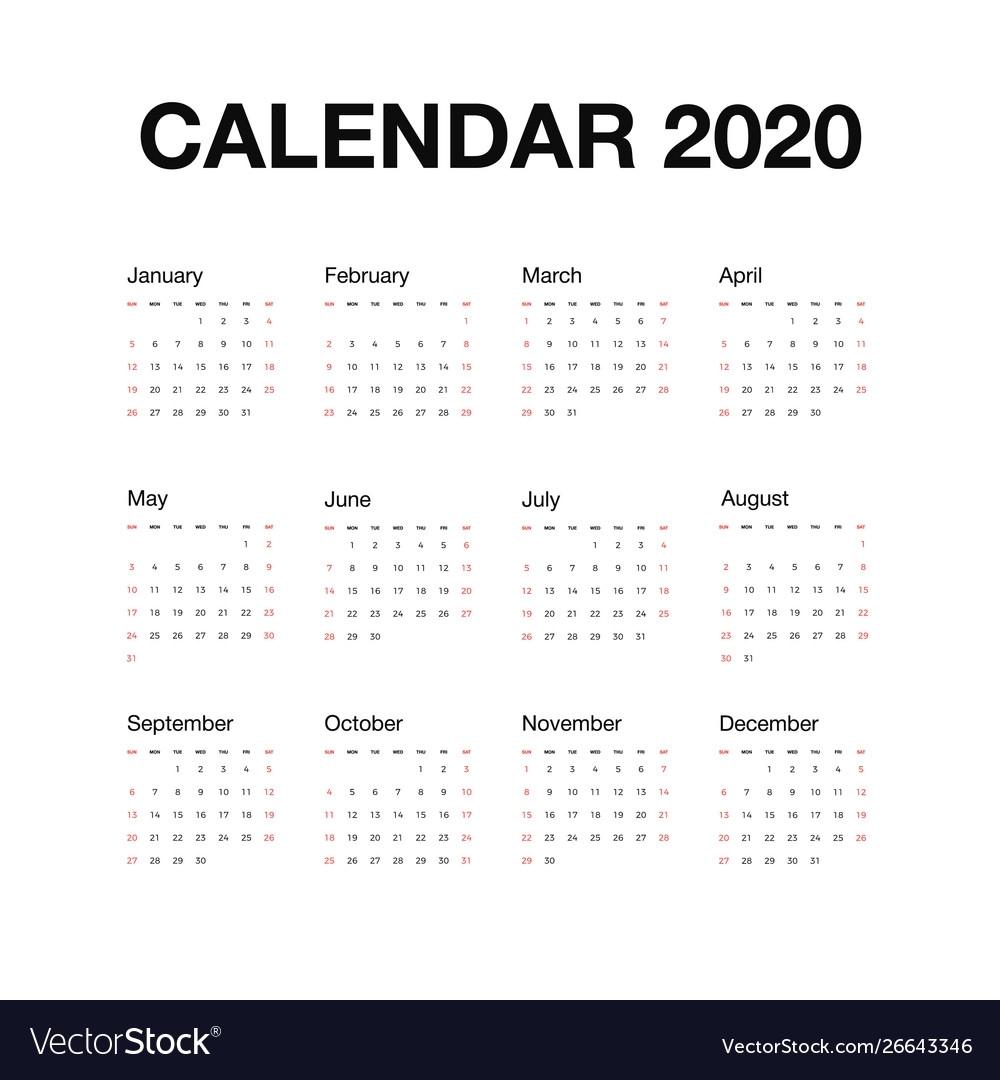 Minimalistic Desk Calendar 2020 Year Calendar