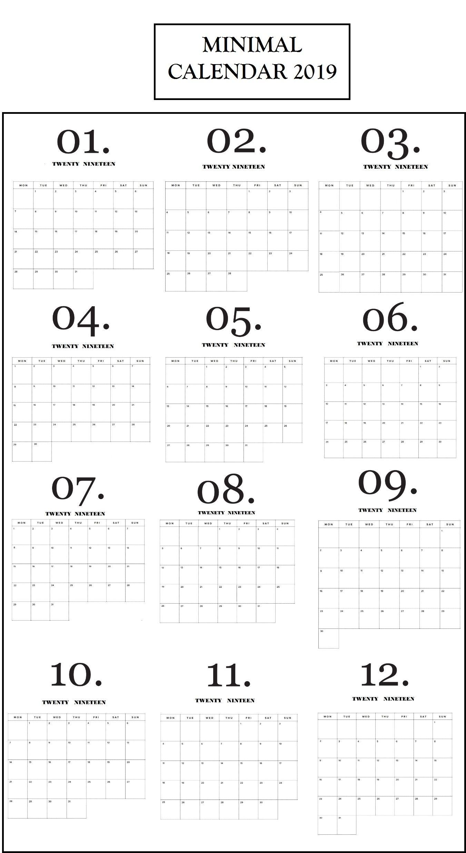 Modern Minimal 2019 Calendar | Print Calendar, Minimal