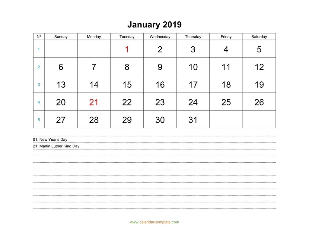 Monthly 2019 Calendar With Space For Notes