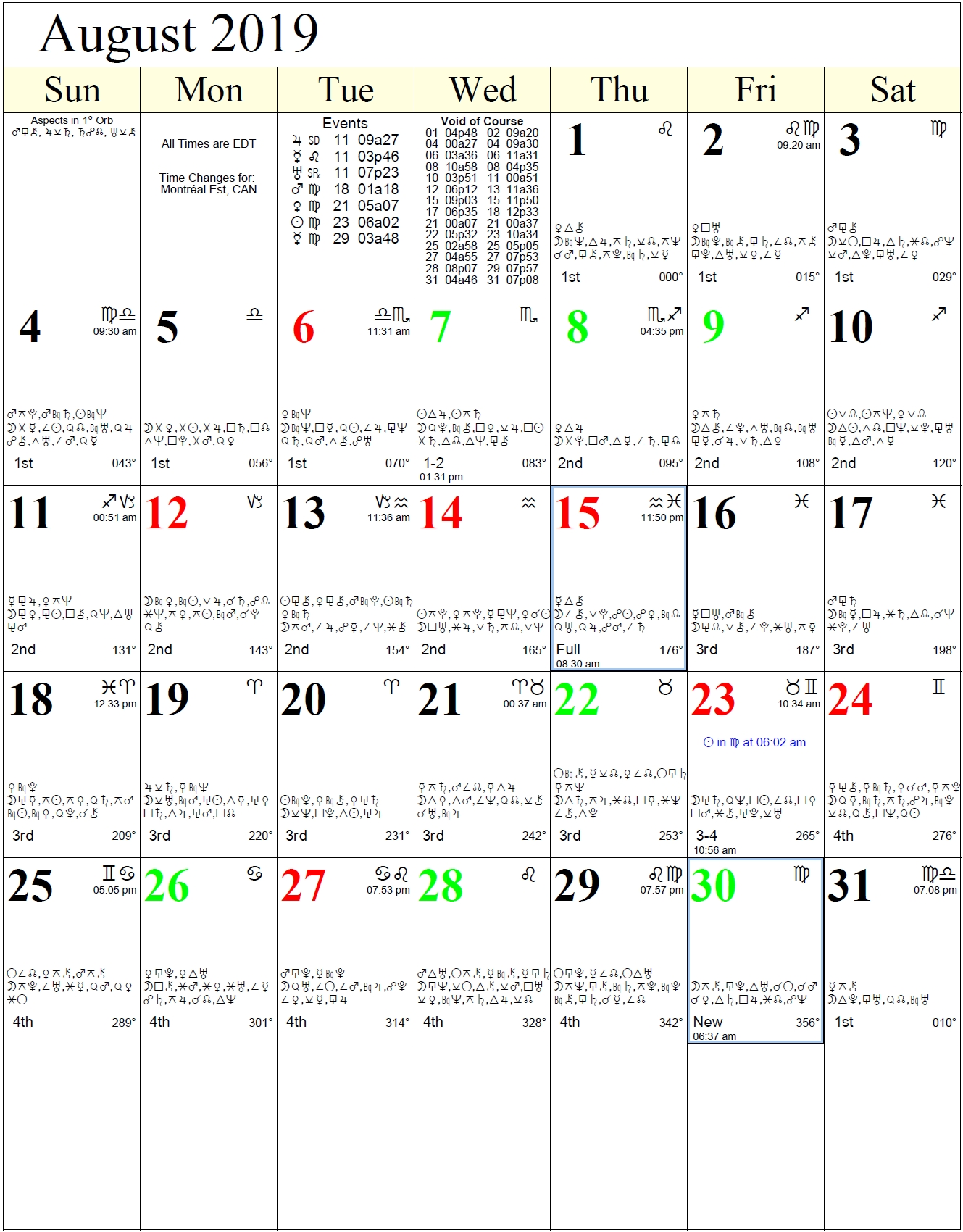 Monthly Astrology Calendars