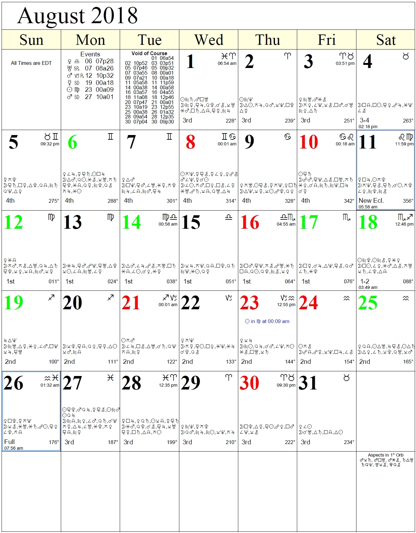Monthly Astrology Calendars-Lunar Calendar With Zodiac Signs