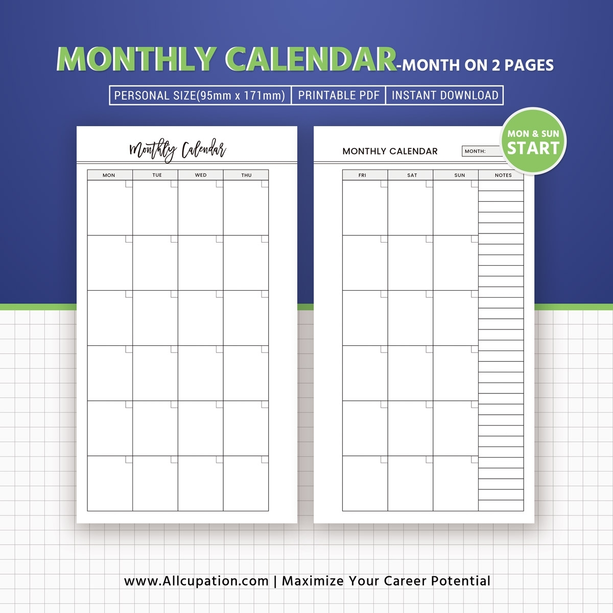 Monthly Calendar 2019, Month On 2 Pages, Printable Personal Size, Planner  Inserts, Planner Design, Best Planner, Filofax Personal, Instant Download