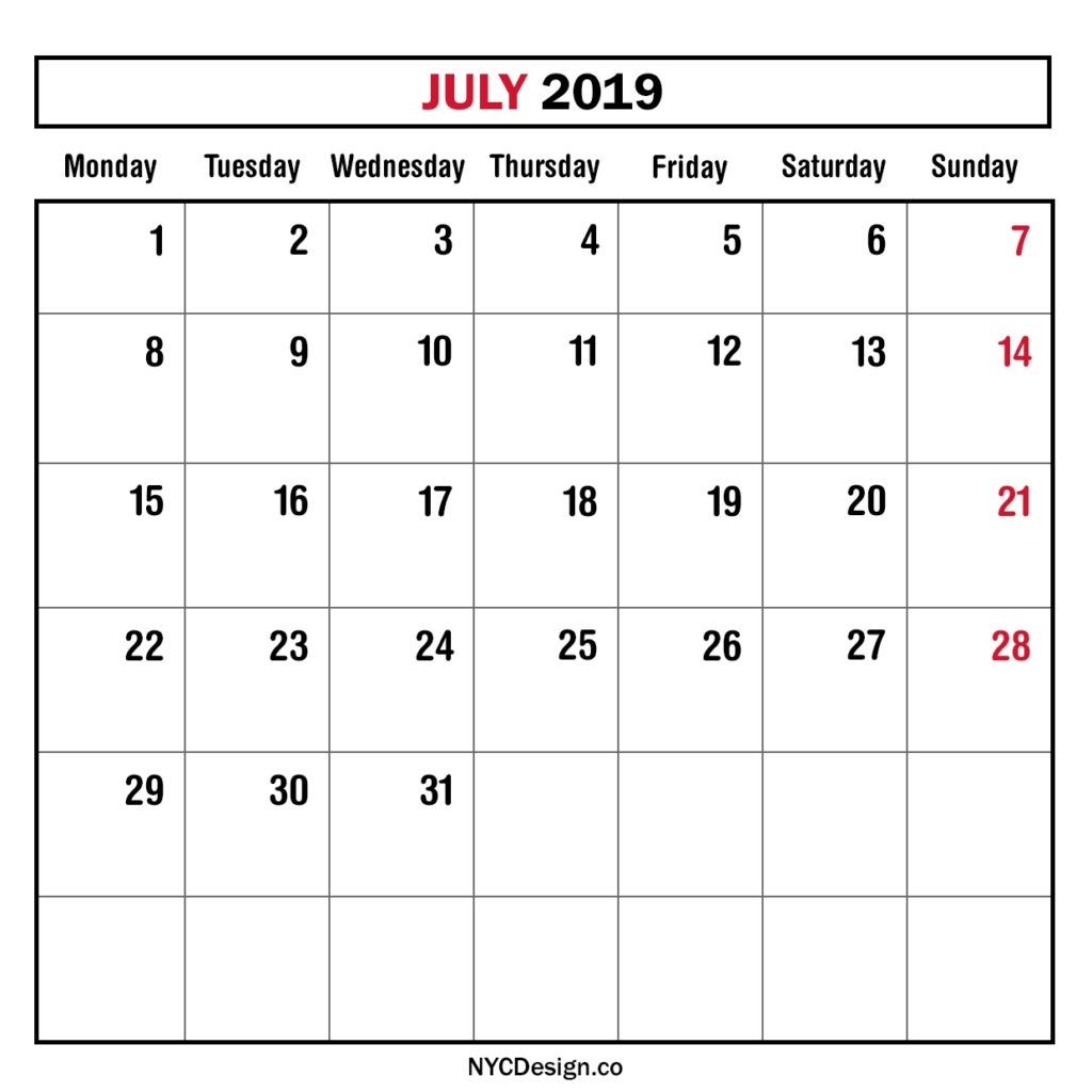 Monthly Calendar July 2019, Monthly Planner, Printable Free
