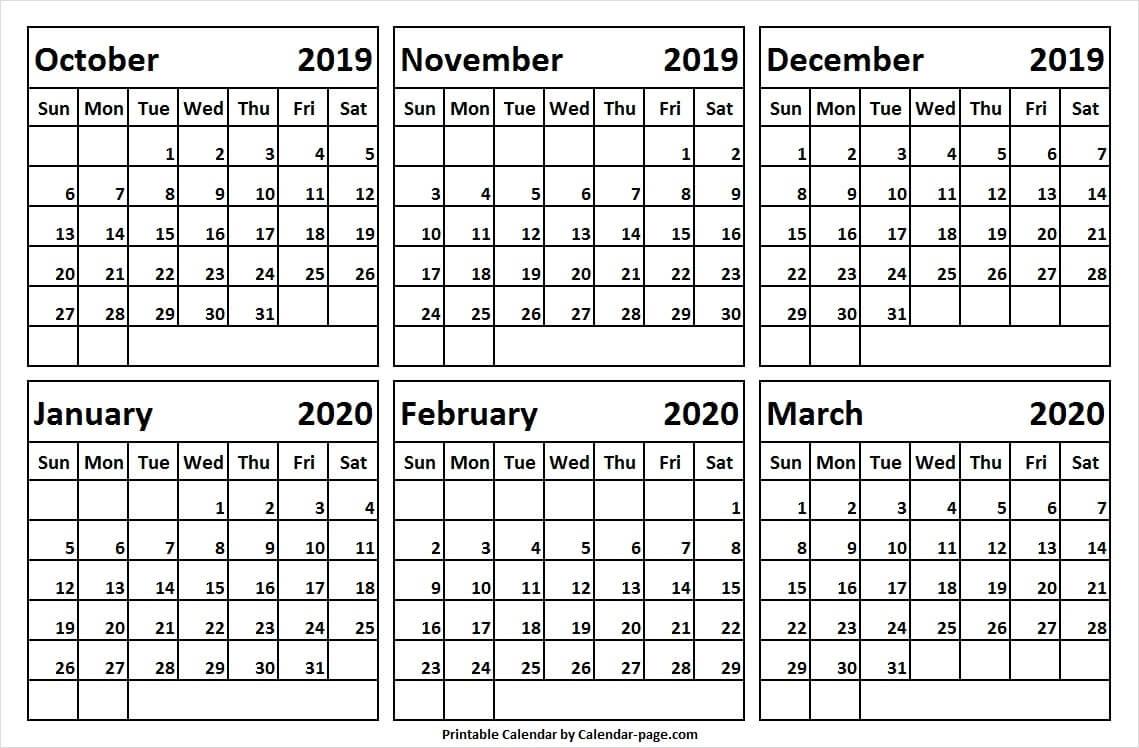 Monthly Calendar Of Oct Nov Dec 2019 Jan Feb Mar 2020