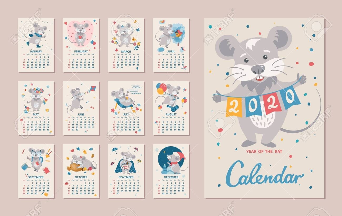 Monthly Calendar. Rat Is A Symbol Of The 2020 Chinese New Year