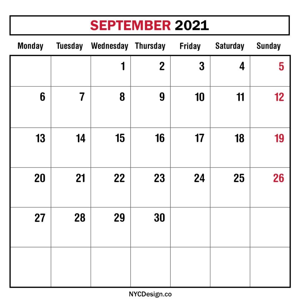Monthly Calendar September 2021, Monthly Planner, Printable