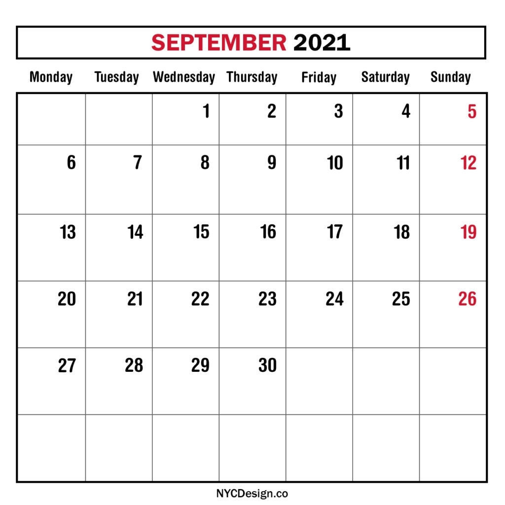Monthly Calendar September 2021, Monthly Planner, Printable