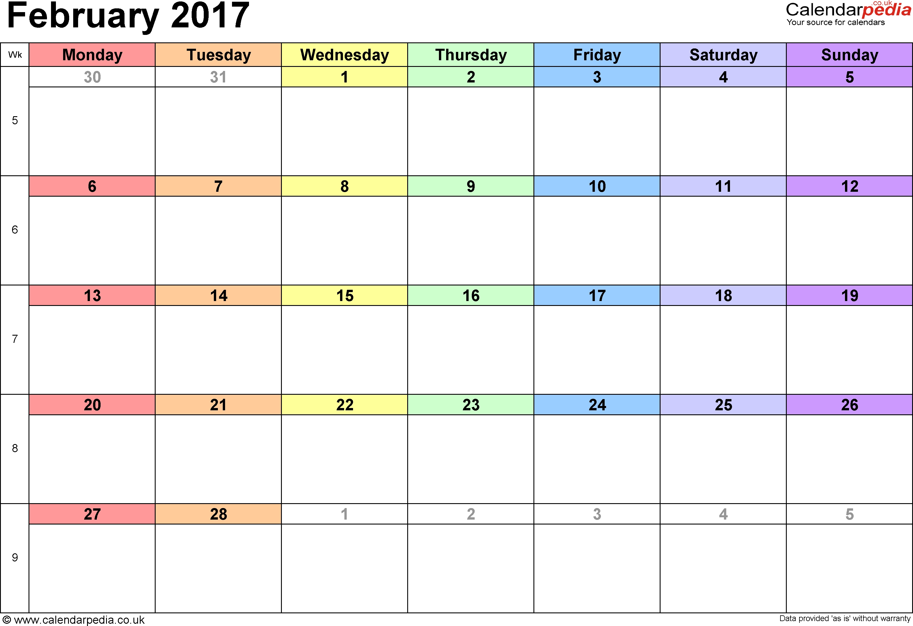 Monthly Calendar Starting With Monday | Monthly Calendar I